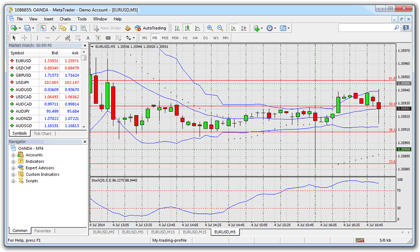 binary options or forex charts